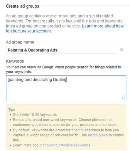 How to create Google Ads - AdGroups