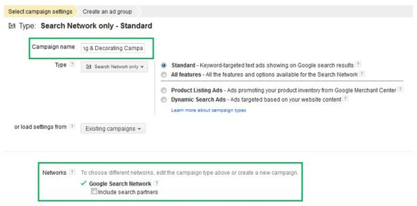 How to create Google Ads - Campaign settings screen 1