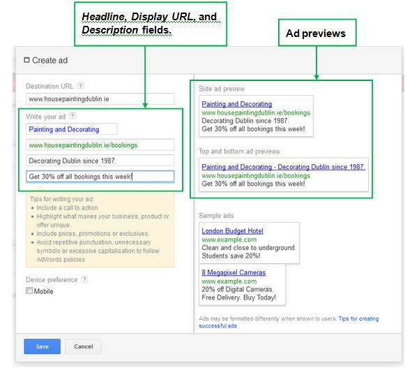 How to create Google Ads - Create an ad