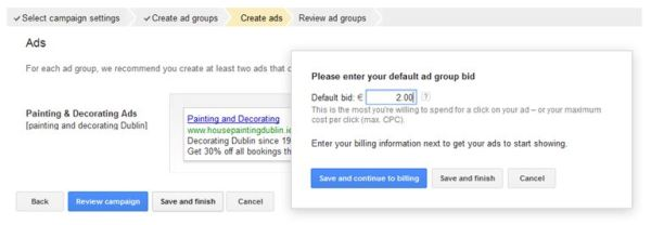 How to create Google Ads - Default bid